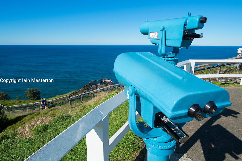 Public binoculars at viewpoint at Byron Bay lighthouse in New South Wales Australia