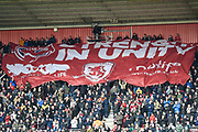 A large Middlesbrough flag makes it's way through the stands before the The FA Cup match between Middlesbrough and Tottenham Hotspur at the Riverside Stadium, Middlesbrough, England on 5 January 2020.