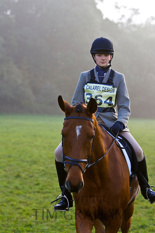 Event horse and rider before Dressage competition, Cotswolds, United Kingdom