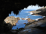 The Indian Ocean (or Southern Ocean according to Australian geographers) has carved Admirals Arch, in Flinders Chase National Park, Kangaroo Island, South Australia.