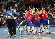Spain players celebrate after winning the EHF 2018 Men's European Championship, Final Handball match between Spain and Sweden on January 28, 2018 at the Arena in Zagreb, Croatia - Photo Laurent Lairys / ProSportsImages / DPPI