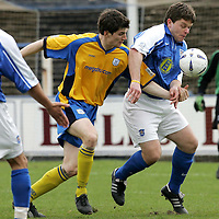 Queen of the South v St Johnstone..30.04.05<br />David McNiven holds off Sean Webb<br /><br />Picture by Graeme Hart.<br />Copyright Perthshire Picture Agency<br />Tel: 01738 623350  Mobile: 07990 594431