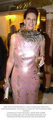 MRS URS SCHWARZENBACH, wife of Swiss multi-millionaire Urs Schwarzenbach, at a ball in London on 15th November 2001.OUG 62