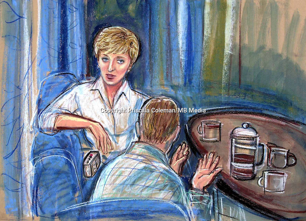 ©PRISCILLA COLEMAN ITV NEWS 12.11.02..DRAWING SHOWS A RECREATION OF THE SCENE WHEN PRINCESS DIANA WAS TAPING THE STATEMENT BY GEORGE SMITH ACCUSING A FELLOW ROYAL WORKER OF RAPE. ..SUPPLIED BY PHOTONEWS SERVICE LTD