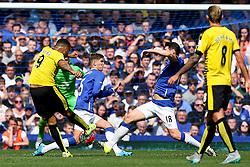 Watford's Troy Deeney has a shot blocked by Everton's John Stones and Gareth Barry - Mandatory byline: Matt McNulty/JMP - 07966386802 - 08/08/2015 - FOOTBALL - Goodison Park -Liverpool,England - Everton v Watford - Barclays Premier League