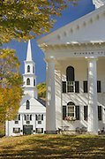 Windham County courthouse and chuch framed in golden fall foliage, Newfane, Vermont