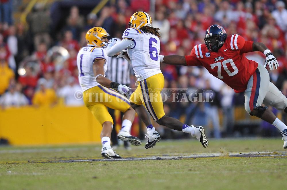LSU safety Craig Loston (6) intercepts against Ole Miss at Tiger Stadium in Baton Rouge, La. on Saturday, November 17, 2012. LSU won 41-35.....