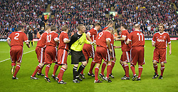 LIVERPOOL, ENGLAND - Thursday, May 14, 2009: Liverpool Legends players run off before player/manager Kenny Dalglish can join the team photo before the Hillsborough Memorial Charity Game at Anfield. (Photo by David Rawcliffe/Propaganda)