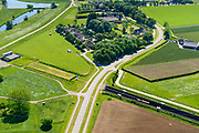 Nederland, Gelderland, Angeren, 29-05-2019; Boerenhoek, tunnel van de Betuweroute onder Pannerdens kanaal. Pannerdensch kanaal (Neder-Rijn) aan de horizon.<br /> Tunnel Betuweroute, freight railway, Pannerdensch channel (Lower Rhine) on the horizon.<br /> luchtfoto (toeslag op standard tarieven);<br /> aerial photo (additional fee required);<br /> copyright foto/photo Siebe Swart