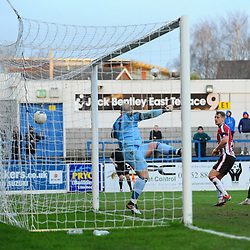 TELFORD COPYRIGHT MIKE SHERIDAN GOAL. Brendon Daniels of Telford scores to make it 2-1 during the Vanarama Conference North fixture between AFC Telford United and Altrincham at The New Bucks Head on Saturday, February 1, 2020.<br /> <br /> Picture credit: Mike Sheridan/Ultrapress<br /> <br /> MS201920-044