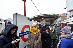 © Licensed to London News Pictures. 01/03/2018. LONDON, UK.  Severe delays are occurring on the Metropolitan Line with commuters delayed due to a signal failure in the Neasden area as a result of the current adverse weather conditions.  Trains are being decommissioned at Harrow-on-the Hill, with passengers having to re-plan their journey to work.   Photo credit: Stephen Chung/LNP