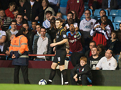 BIRMINGHAM, ENGLAND - Monday, October 5, 2009: Aston Villa supporters abuse Manchester City's former Villa player Gareth Barry during the Premiership match at Villa Park. (Pic by David Rawcliffe/Propaganda)
