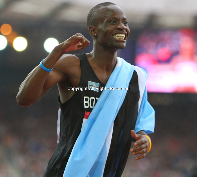31.07.2014. Glasgow, Scotland. Glasgow Commonwealth Games. Men's 800m final from Hampden Park. Nijel Amos of Botswana celebrates his gold medal win