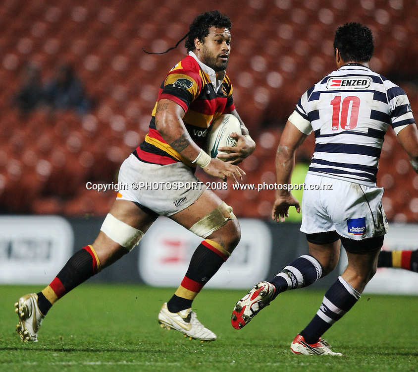 waikato's Sione Lauaki makes a run with Isaia Toeava in defence. Air NZ Cup, Waikato v Auckland, Waikato Stadium, Hamilton, Saturday 30 August 2008. Waikato won 34-13. Photo: Stephen Barker/PHOTOSPORT