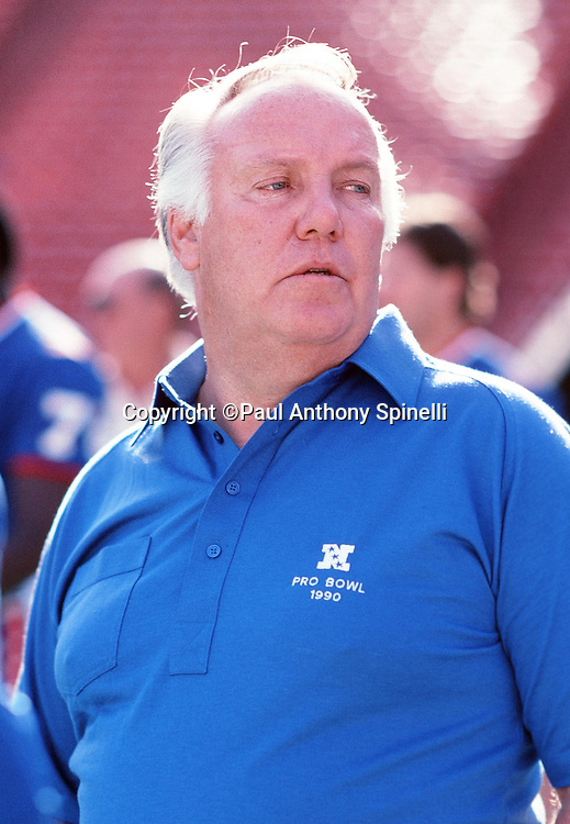 NFC Los Angeles Rams head coach John Robinson looks on from the sideline during the 1990 NFL Pro Bowl between the National Football Conference and the American Football Conference on Feb. 4, 1990 in Honolulu. The NFC won the game 27-21. (©Paul Anthony Spinelli)