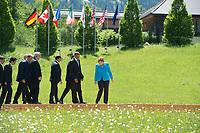 07 JUN 2015, ELMAU/GERMANY:<br /> Matto Renzi, Ministerpraesident Italien, Shinzo Abe, Premierminister Japan, Stephen Harper (verdeckt), Premierminister Kanada, Donald Tusk, Praesident Europaeischer Rat, Jean-Claude Juncker, Praesident Europaeische Kommission, Francois Hollande, Praesident Frankreich, David Cameron (verdeckt), Premierminister Vereinigtes Koenigreich, Grossbritannien, Barak Obama, Praesident Vereinigste Staaten von Amerika, USA, Angela Merkel, CDU, Bundeskanzlerin, (v.L.n.R.), auf dem Weg zur ihren Positionen fuer das Familienfotos des G7-Gipfels vor Schloss Elmau bei Garmisch-Patenkirchen<br /> IMAGE: 20150607-01-050<br /> KEYWORDS: G7 Summit, Gruppenfoto