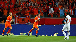 Rafael van der Vaart (NED) celebrates after scoring  during the International Friendly between Netherlands and England at the Amsterdam Arena on August 12, 2009 in Amsterdam, Netherlands.