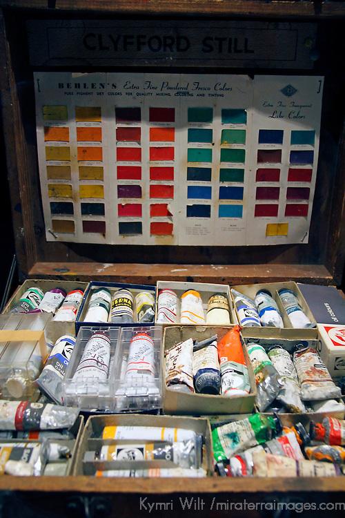 USA, Colorado, Denver. Paints of the artist at Clyfford Still Museum.