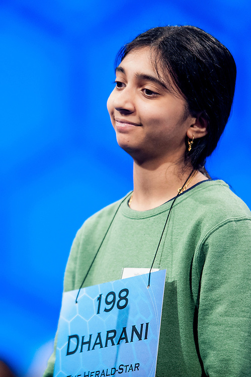 Dharani Kotekal, 14, of Steubenville, OH,? competes in the semifinal round of the 85th Annual Scripps National Spelling Bee at the Gaylord National Resort & Convention Center in National Harbor, Md., near Washington, D.C.