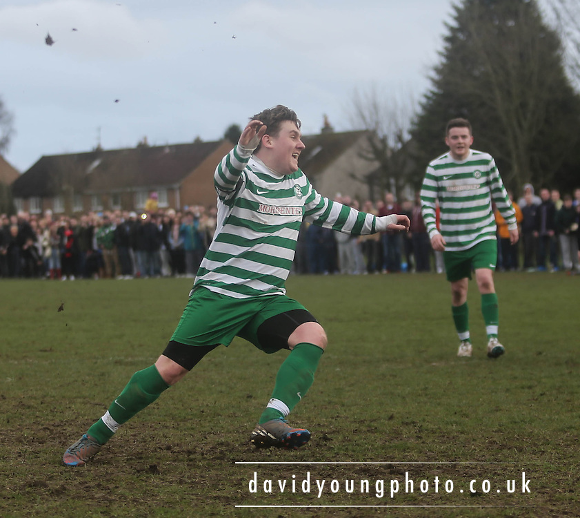 Ryan Stewart celebrates after scoring from the penalty spot to put Fintry Athletic 3-0 up against Castlemilk Dynamo - Scottish Cup Quarter Final at Fintry Park<br /> <br />  - &copy; David Young - www.davidyoungphoto.co.uk - email: davidyoungphoto@gmail.com