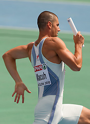 Marko Macuh as a third Slovenian sprinter during  the 4x400m Mens Relay Heats during day five of the 20th European Athletics Championships at the Olympic Stadium on July 31, 2010 in Barcelona, Spain.  (Photo by Vid Ponikvar / Sportida)