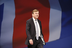 © Licensed to London News Pictures. 05/10/2015. Manchester, UK. Culture, Media and Sport Secretary John Whittingdale speaking at Conservative Party Conference at Manchester Central in Manchester on Monday, 5 October 2015. Photo credit: Tolga Akmen/LNP