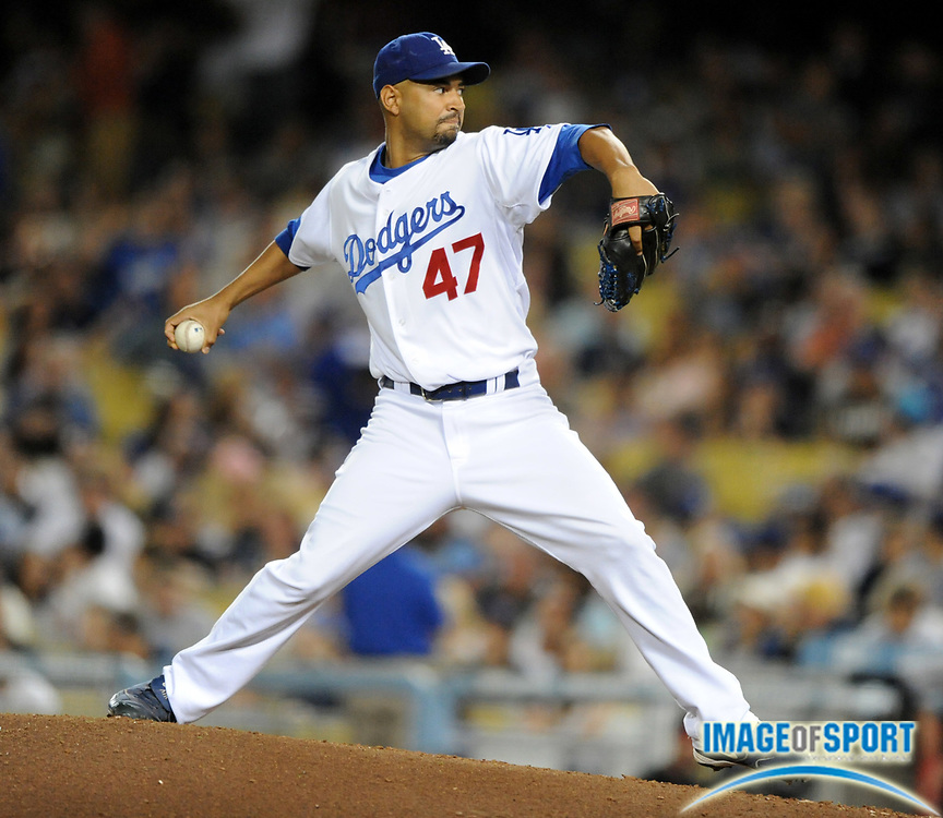 Jul 11, 2008; Los Angeles, CA, USA; Los Angeles Dodgers reliever Cory Wade (47) pitches during 3-1 loss to the Florida Marlins at Dodger Stadium.
