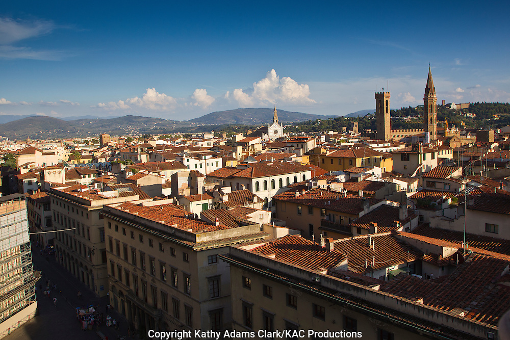 View from the Basilica Santa Maria del Fiore, or the Duomo, of the skyline of Florence, Italy, Firenza.