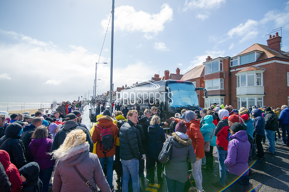 Crowds gather round the Team Ineos team bus in Bridlington a head of the start of the third stage of the Tour de Yorkshire from Bridlington to Scarborough, , United Kingdom on 4 May 2019.