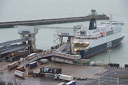 © Licensed to London News Pictures. 01/02/2020. Dover, UK. Cars and good vehicles embark and disembark on ferries in Dover Port on the first day after the United Kingdom left the European Union. Photo credit: Ray Tang/LNP