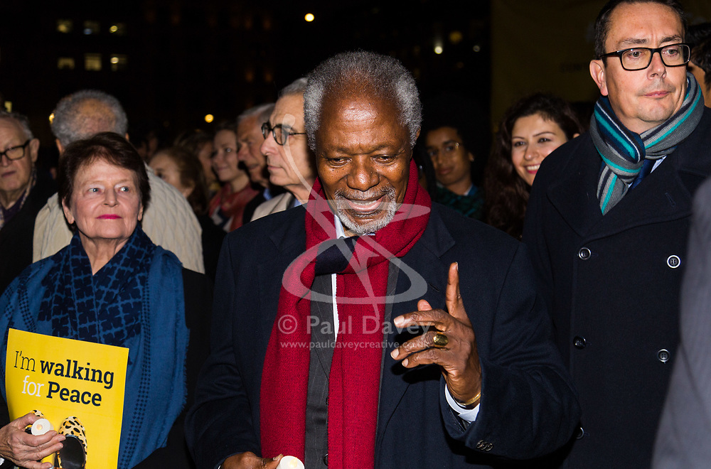 """London, October 23 2017. Nelson Mandela's group of Elders including former UN Secretary General Kofi Annan and Secretary General Ban Ki-moon accompanied by his widow Graca Machel gather at Parliament Square at the start of the Walk Together event in memory of Nelson Mandela before a candlelight vigil at his statue in Parliament Square. """"WalkTogether is a global campaign to inspire hope and compassion, celebrating communities working for the freedoms that unite us"""". PICTURED: Mary Robinson and Kofi Annan. © Paul Davey"""