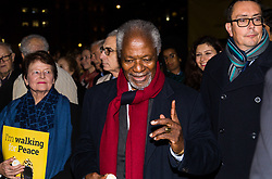 "London, October 23 2017. Nelson Mandela's group of Elders including former UN Secretary General Kofi Annan and Secretary General Ban Ki-moon accompanied by his widow Graca Machel gather at Parliament Square at the start of the Walk Together event in memory of Nelson Mandela before a candlelight vigil at his statue in Parliament Square. ""WalkTogether is a global campaign to inspire hope and compassion, celebrating communities working for the freedoms that unite us"". PICTURED: Mary Robinson and Kofi Annan. © Paul Davey"