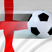 A moving soccer ball against the English flag to portray football or soccer in England.