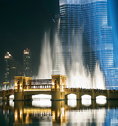 View at night of Dubai Fountain at the Dubai Mall in Downtown Dubai United Arab Emirates