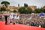 Rome, Italy. 30 January 2016<br /> Pictured: Massimo Gandolfini, chairman of the committee 'We defend our children'.<br /> Thousands of demonstrators take part in the Family Day rally at the Circo Massimo in central Rome  in support of traditional family and to protest against a bill to recognize civil unions, including same-sex ones currently under examination at the Italian Parliament.