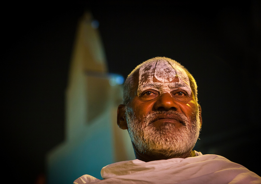 Pilgrim at Maha Kumbh Mela festival, world's largest congregation of religious pilgrims. Allahabad, India.