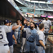 San Diego Padres, celebrate a run in the dugout during the New York Mets Vs San Diego Padres MLB regular season baseball game at Citi Field, Queens, New York. USA. 29th July 2015. Photo Tim Clayton