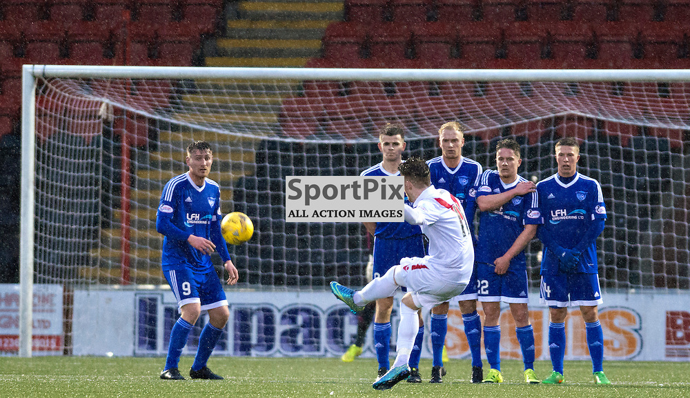 Nicholas Cadden of Airdrie fires a free kick just over against Peterhead......(c) BILLY WHITE | SportPix.org.uk