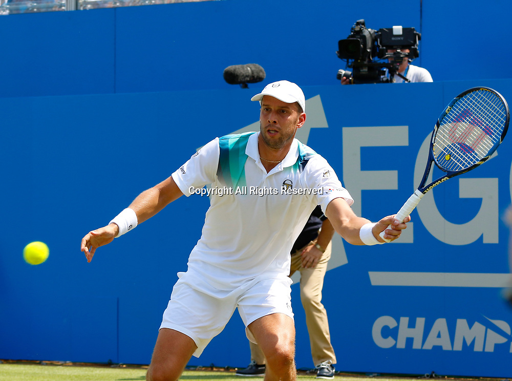 June 21st 2017, Queens Club, West Kensington, London; Aegon Tennis Championships, Day 3; Gilles Muller (LUX) hits a forehand during his second round match against number five seed Jo-Wilfried Tsonga (FRA)
