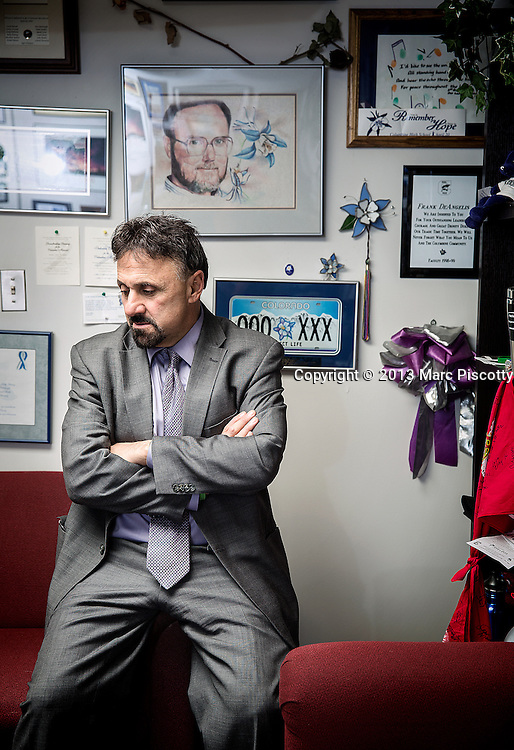 SHOT 10/31/13 3:27:04 PM - Columbine High School principal Frank DeAngelis is retiring at the end of this school year after a 35 year career at the school as a teacher, coach and administrator. The school was the site of a 1999 school shooting in which 12 students and a teacher died. DeAngelis will have spent 18 years leading the school, driven in part by a personal pledge made after the attack that he would remain as principal until all the students in Columbine feeder schools at the time had graduated. He fulfilled that promise in 2012. DeAngelis said he has no major plans at this point for retirement but does intend to continue to speak about the tragedy when asked. (Photo by Marc Piscotty / © 2013)
