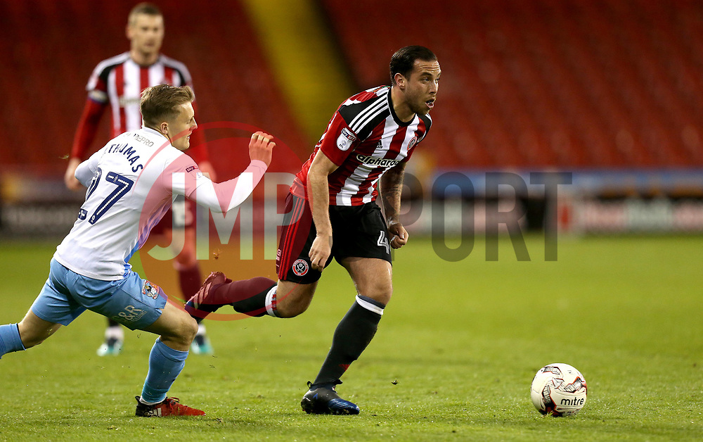 Samir Carruthers of Sheffield United goes past George Thomas of Coventry City - Mandatory by-line: Robbie Stephenson/JMP - 05/04/2017 - FOOTBALL - Brammall Lane - Sheffield, England - Sheffield United v Coventry City - Sky Bet League One
