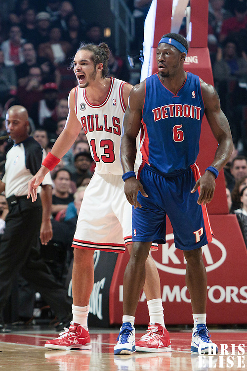 30 October 2010: Chicago Bulls Joakim Noah defends against Detroit Pistons Ben Wallace during the Chicago Bulls 101-91 victory over the Detroit Pistons at the United Center, in Chicago, Illinois, USA.