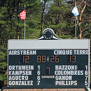The scoreboard during the Airstream vs. Cinque Terre Polo match at the Greenwich Polo Club, Greenwich, Connecticut, USA. 23rd June 2013. Photo Tim Clayton