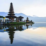 INDONESIA. Bedugul, Bali. June 5th, 2013. The central-north region of Bali in Bedugul is home to the famous Pura Ulun Danu Bratan water temple located on the shores of Lake Bratan. It is one of Bali's nine directional temples that protect the island from evil sprits.