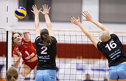 Iza Mlakar of Nova KBM Branik vs Tjasa Turnsek of Calcit Volleyball and Lucille June Charuk of Calcit Volleyball  during match between OK Nova KBM Branik and OK Calcit Volleyball in Finals of Slovenian Women Volleyball Cup 2013/14 on December 27, 2013 in Hoce, Slovenia.  Calcit Volleyball won 3-1 and became Slovenian Cup Champion 2013/14. Photo by Vid Ponikvar / Sportida