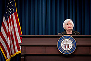Washington, District of Columbia, USA, 20150917: Sentralbanksjef Janet Yellen holder pressekonferanse etter et to dagers møte i Federal Open Market Committee. Foto: Ørjan F. Ellingvåg