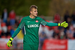 MOSCOW, RUSSIA - Tuesday, September 26, 2017: Spartak Moscow's goalkeeper Aleksandr Maksimenko during the UEFA Youth League Group E match between Liverpool and Spartak Moscow FC at the Spartak Academy. (Pic by David Rawcliffe/Propaganda)