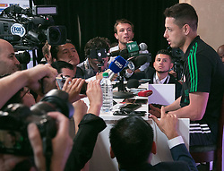May 25, 2018 - Los Angeles, California, U.S - Javier ''el Chicharito'' Hernandez of Mexico's World Cup squad responds to questions from journalists during Mexico Media Day on Friday May 25, 2018 in Beverly Hills, California ahead a pre-World Cup soccer friendly against Wales in Pasadena on May 28. (Credit Image: © Prensa Internacional via ZUMA Wire)