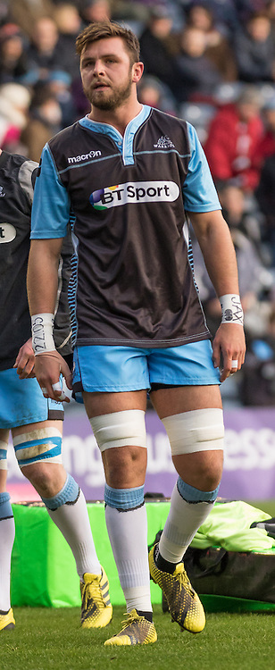 Glasgow #6. Ryan Wilson during the warm up.  Edinburgh Rugby v Glasgow Warriors, 27th December 2015