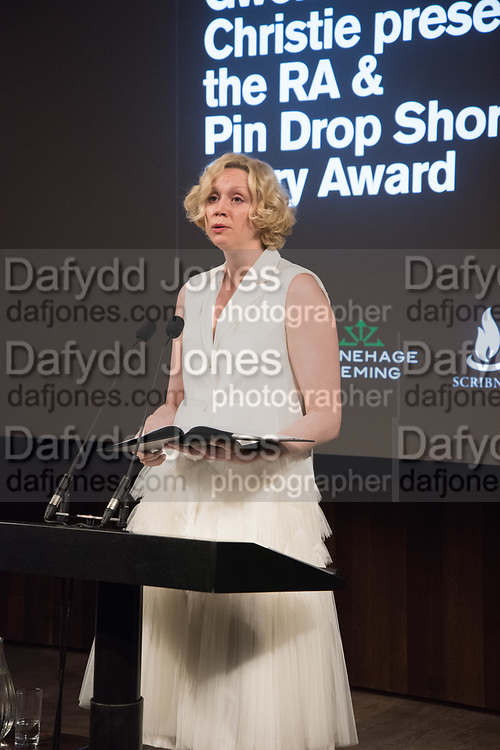 GWENDOLINE CHRISTIE, RA & Pin Drop Short Story Award, presented by Gwendoline Christie who also gives a reading. Reception at the RA Schools for the launch the new book A Short Affair.